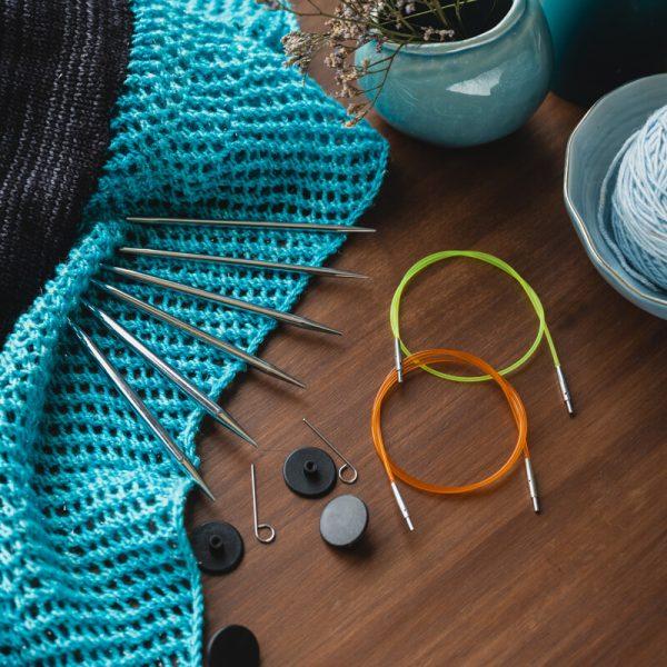 nova metal starter interchangeable circular knitting needles set4